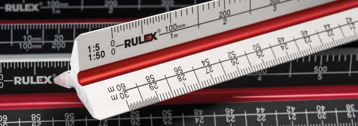 metal triangular scale ruler group