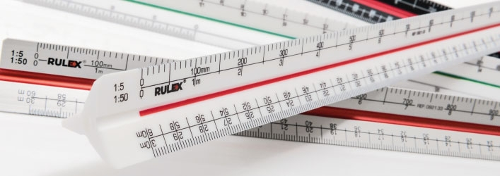 Triangular scale rulers group