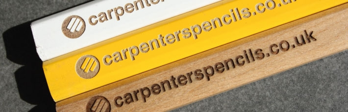 Custom laser engraving on coloured carpenter pencils