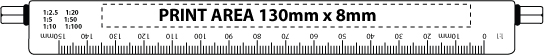 150mm metal scale ruler print area